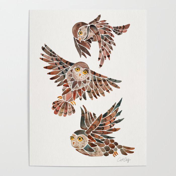 Owls in Flight – Brown Palette Poster by Cat Coquillette