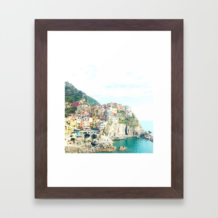 little houses on the hillside - Cinque Terre, Italy Framed Art Print by ashley estrin