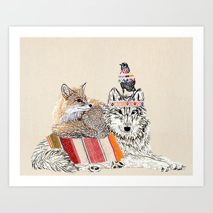 Best friends -wolf, raven, fox Art Print by Claudia Schoen