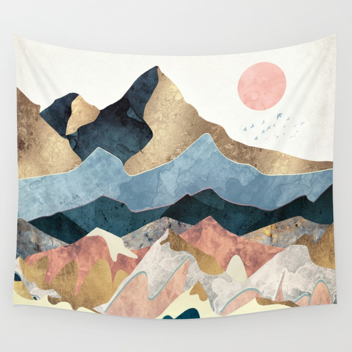 Golden Peaks Wall Tapestry by SpaceFrogDesigns