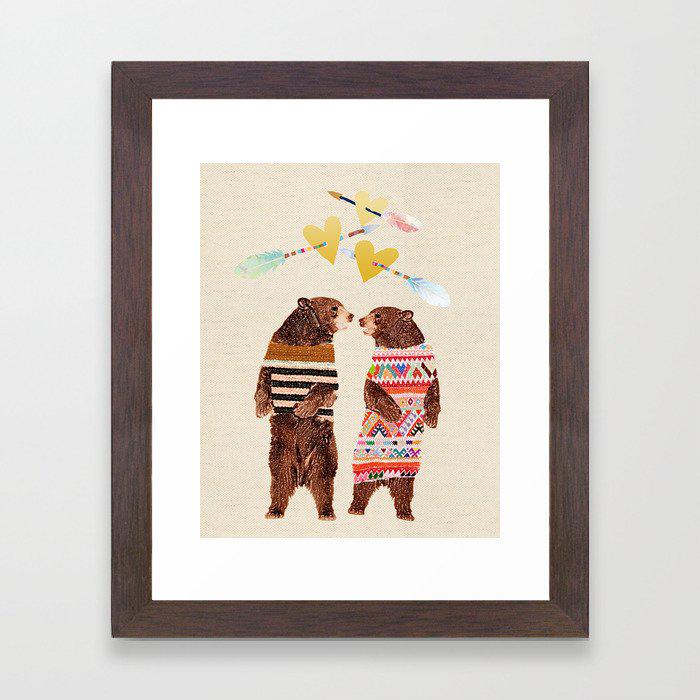 Dancing Bear Couple in Love Framed Art Print by Claudia Schoen