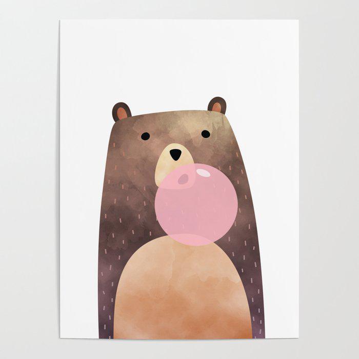 Bear gum, nursery print Poster by PrintsFactory
