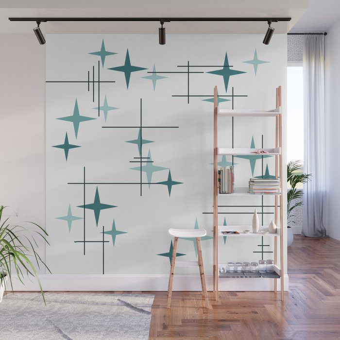 Mid Century Modern Stars (Teal) Wall Mural by Kay Cordingly