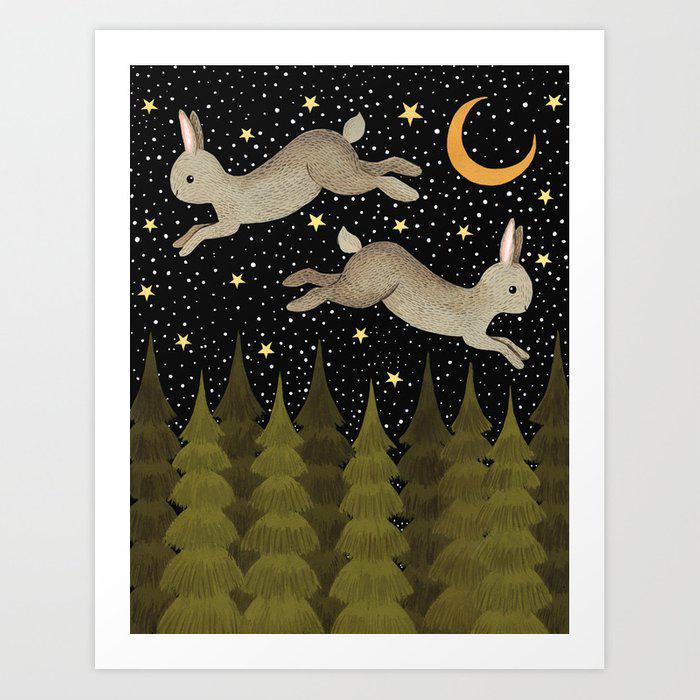 midnight hare Art Print by annyamarttinen