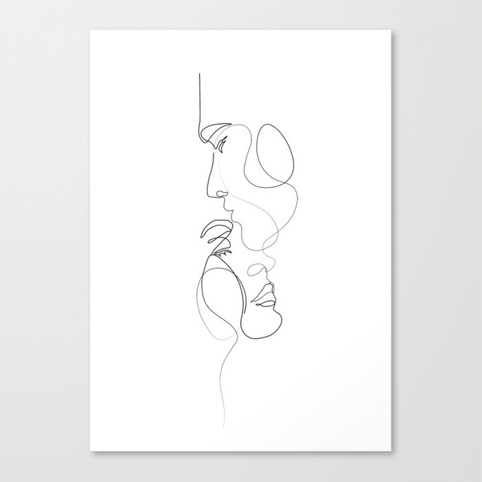 Lovers - Minimal Line Drawing Art Print 2 Canvas Print by UrbanWallArts