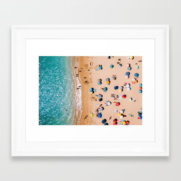 People On Algarve Beach In Portugal, Drone Photography, Aerial Photo, Ocean Wall Art Print Framed Art Print by Radu Bercan