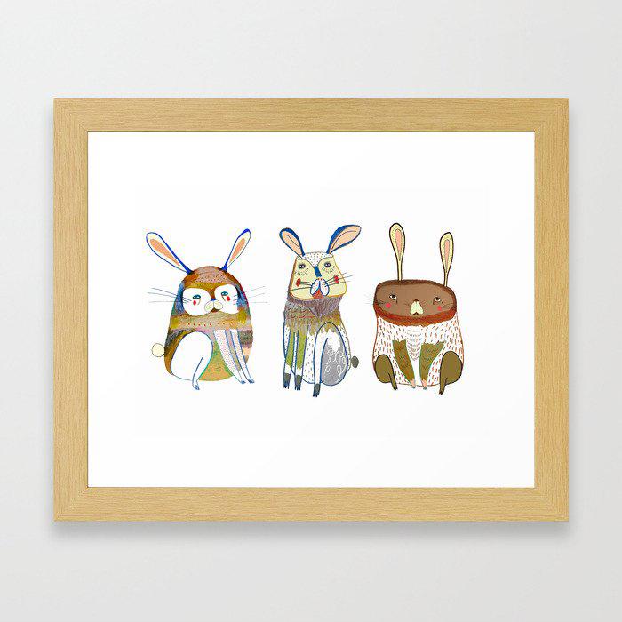 Rabbits Framed Art Print by Ashley Percival illustration