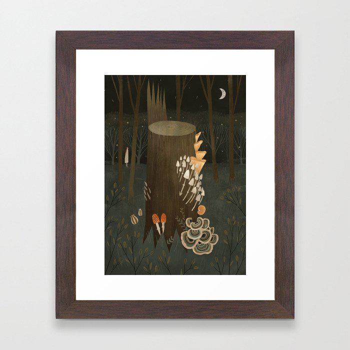 Fungi Framed Art Print by Alexandra Dvornikova