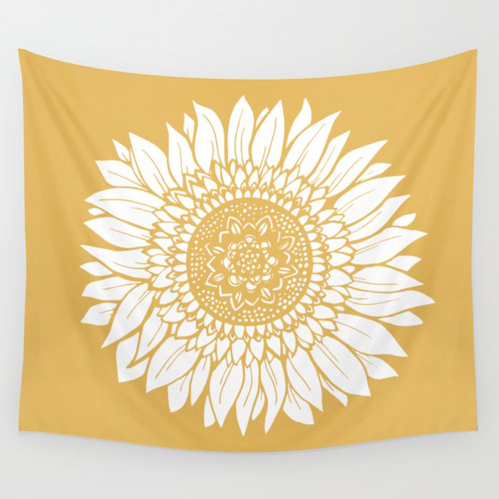 Yellow Sunflower Drawing Wall Tapestry by Allison Terkelsen