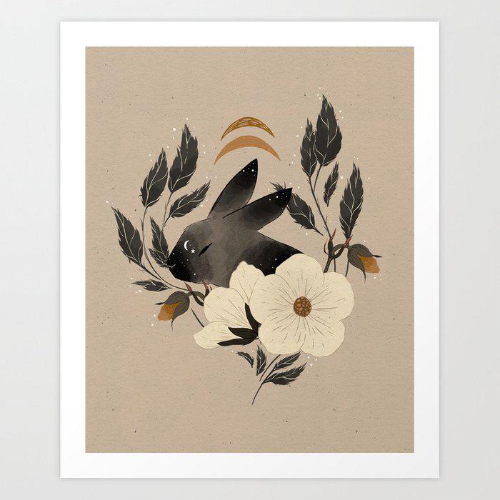 Two Moons Rabbit Art Print by Yuliya Pieletskaya