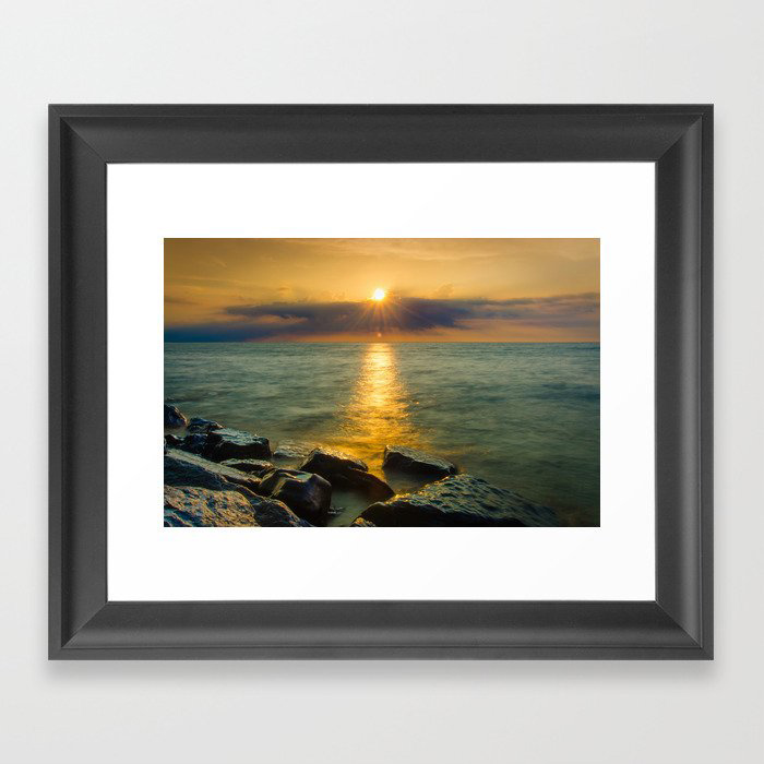 Coastal Landscape Photograph Sun Ray on the Water Beach Art Framed Art Print by PIPA Wall Art & Home Decor