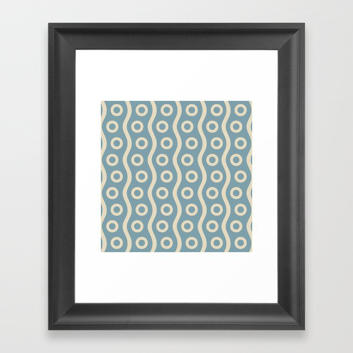 Mid Century Modern Rising Bubbles Pattern 2 Blue and Cream Framed Art Print by Tony Magner