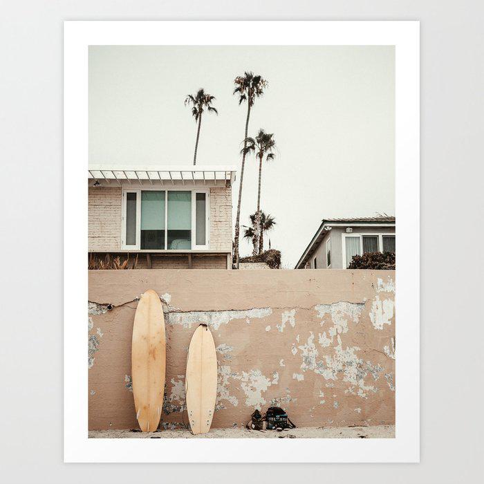 San Diego Surfing Art Print by wanderhaus