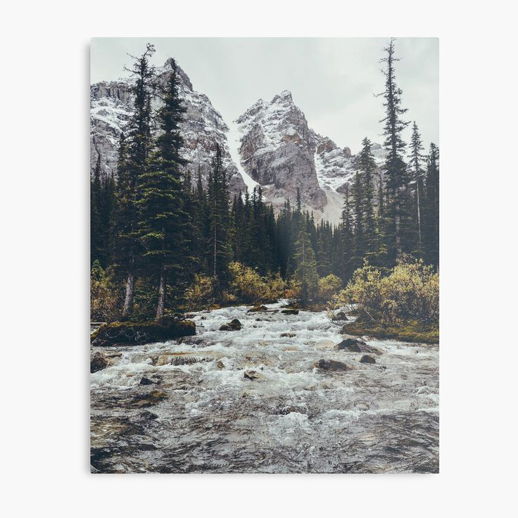 Mountain Rapids Metal Wall Art Print Designed by bellehibou