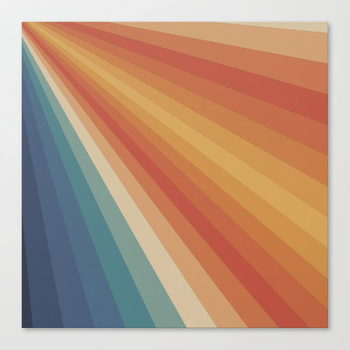 Retro 70s Sunrays Canvas Print by Alisa Galitsyna