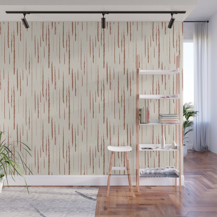 Cavern Clay SW 7701 Grunge Vertical Stripes on Creamy Off White SW7012 Wall Mural by PIPA Wall Art & Home Decor