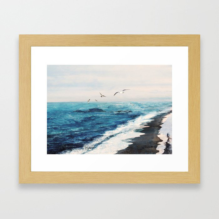 Watercolor Coast Framed Art Print by Nadja