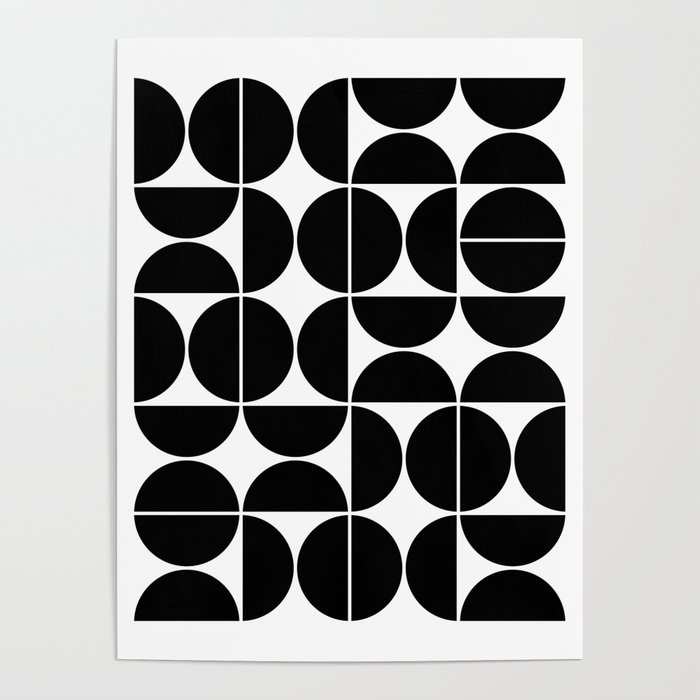 Mid Century Modern Geometric 04 Black Poster by The Old Art Studio