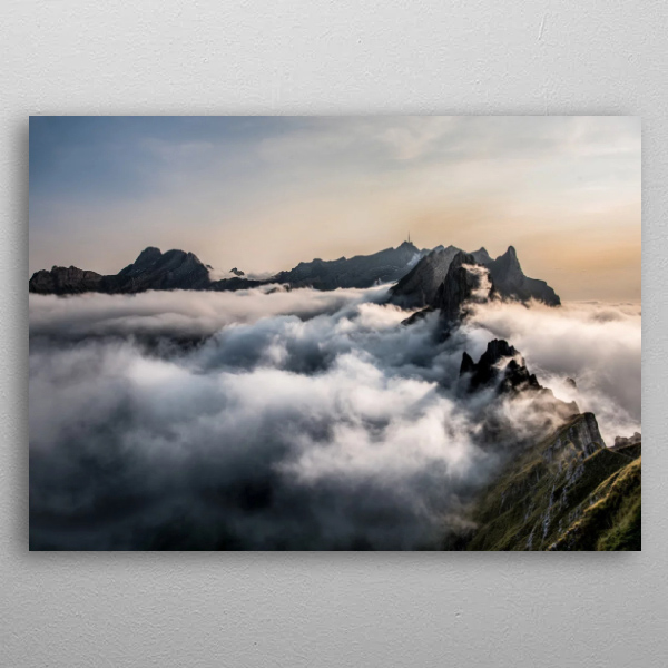 Swiss Mountains Metal Wall Art Print by Nik Roth