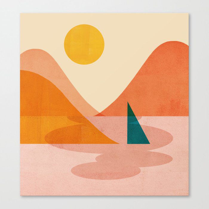 Abstraction Lake Sunset Canvas Print by Forgetme