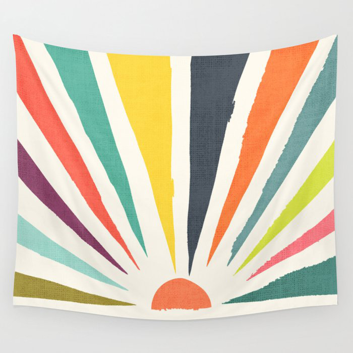 Rainbow ray Wall Tapestry by Picomodi