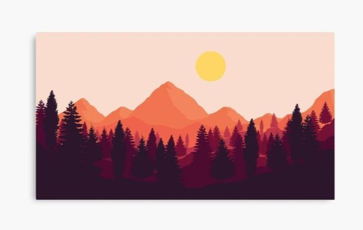 Forest Mountain Horizon Canvas Wall Art Print Designed by Brandon Surya