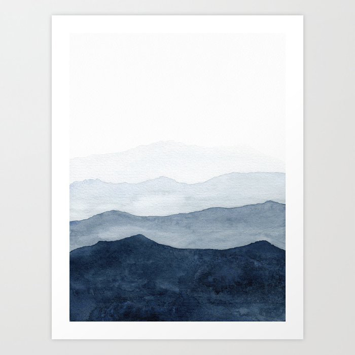 Indigo Abstract Watercolor Mountains Art Print by Kris Kivu