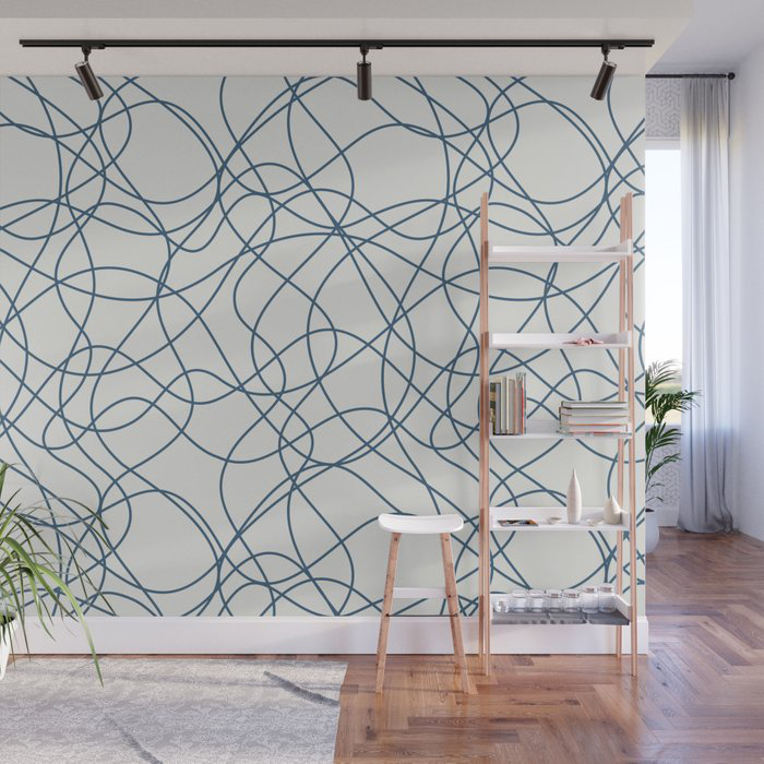 Blue Scribbled Lines Abstract Mosaic on Off White - 2020 Color Of The Year Chinese Porcelain Wall Mural by PIPA Wall Art & Home Decor