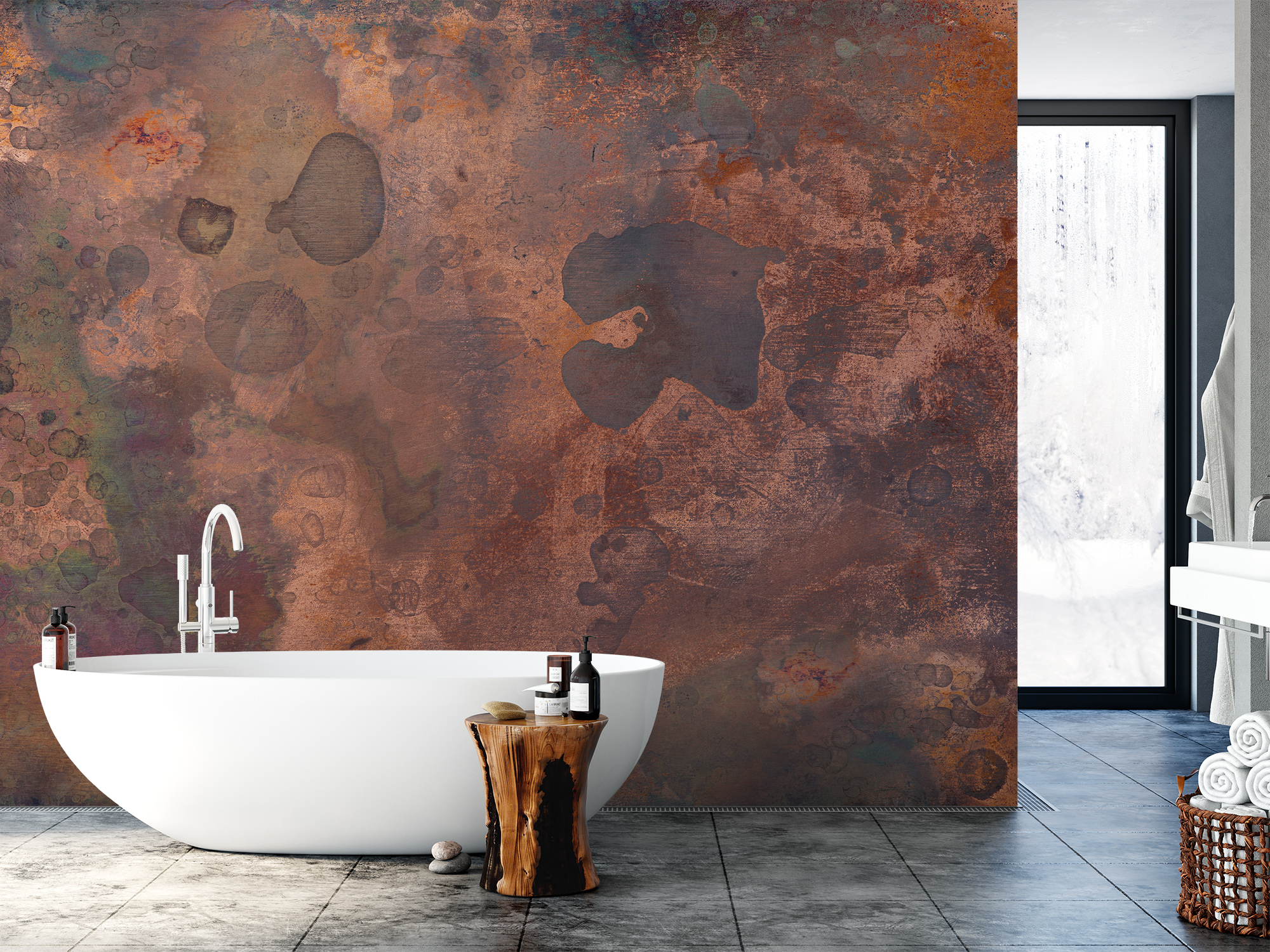Tarnished, Stained and Scratched Copper Metal Texture Industrial Art Wall Mural by PIPA Wall Art & Home Decor
