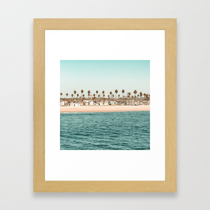 Vintage Newport Beach Print {1 of 4} | Photography Ocean Palm Trees Teal Tropical Summer Sky Framed Art Print by desertxpalm