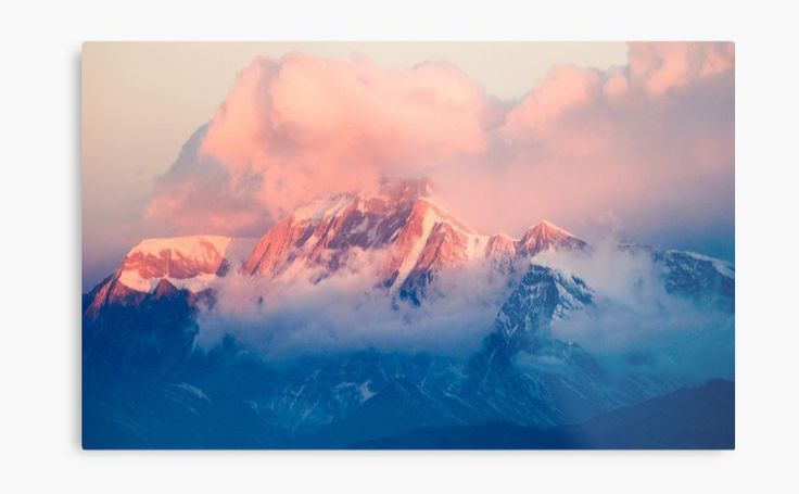Snow Mountain at Pink Sunset Metal Print Designed by Travel Dream