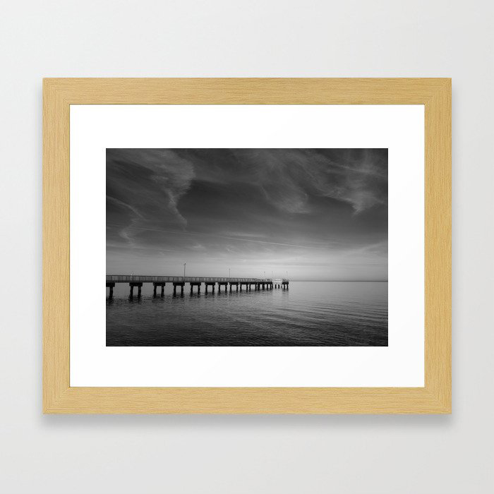 End of the Pier Black and White Landscape Photograph Coast - Beach - Shore Framed Art Print by PIPA Wall Art & Home Decor