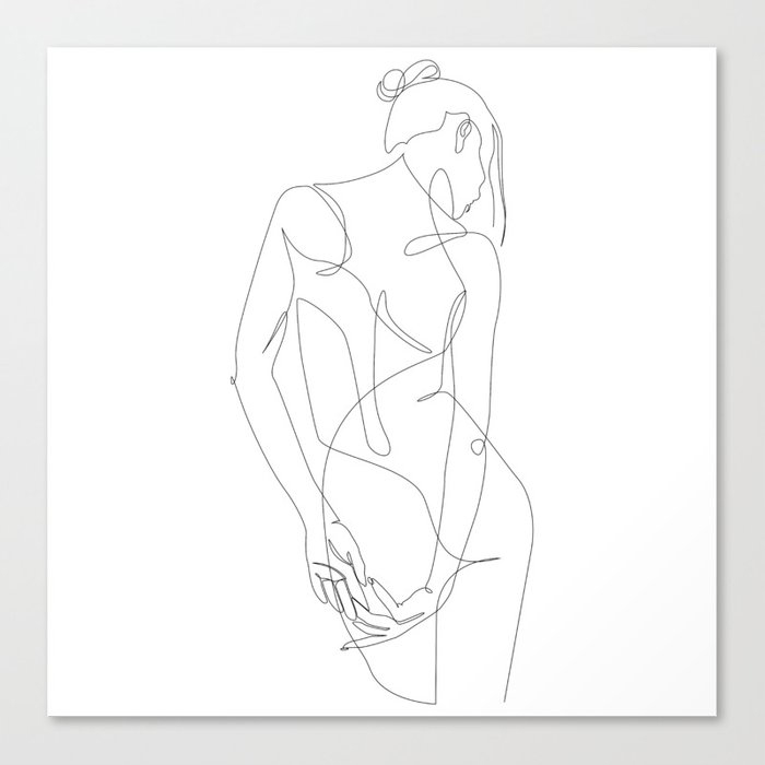 ligature - one line art Canvas Print by addillum