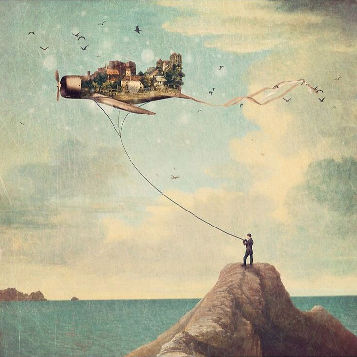 City Kite Afternoon Landscape Wall Art Canvas Print Designed by Paula Belle Flores