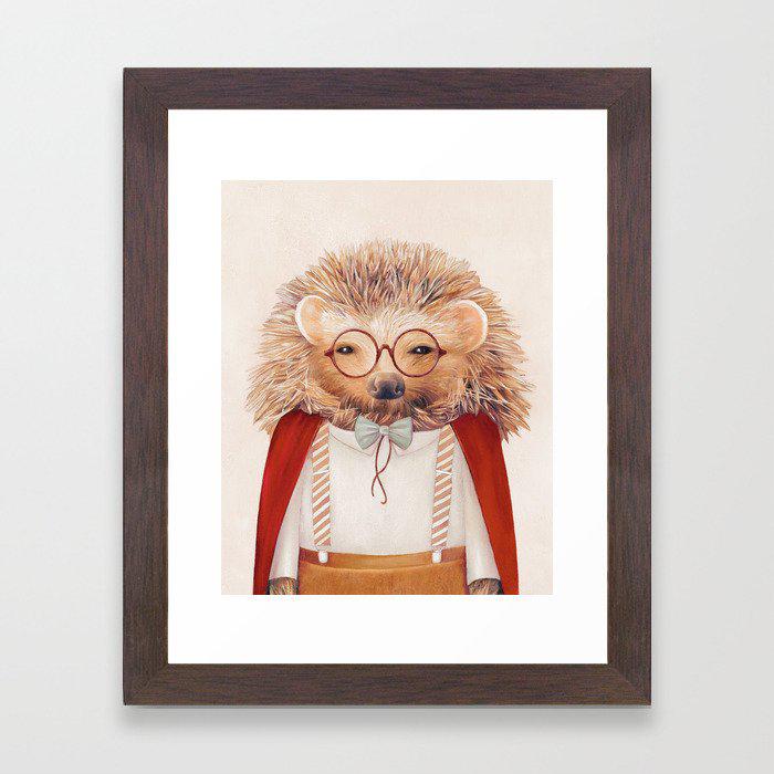Hedgehog Framed Art Print by Animal Crew
