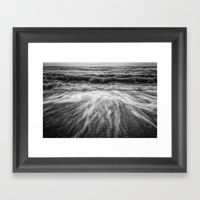 Coastal Nature Photograph Washing Out to Sea in Black and White Beach Art Framed Art Print by PIPA Wall Art & Home Decor