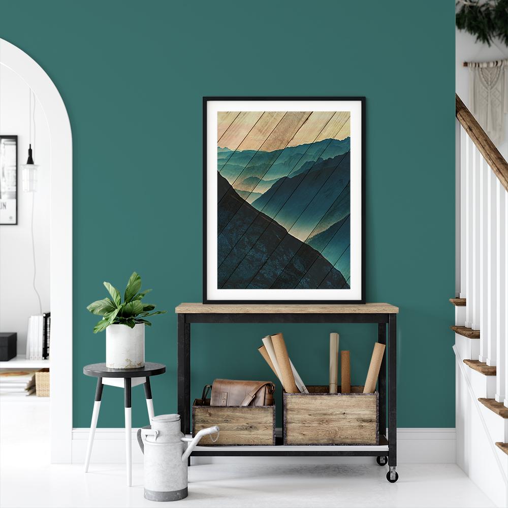 Faux Wood Misty Blue Silhouette Mountain Range Landscape Photography Wall Art & Canvas Prints