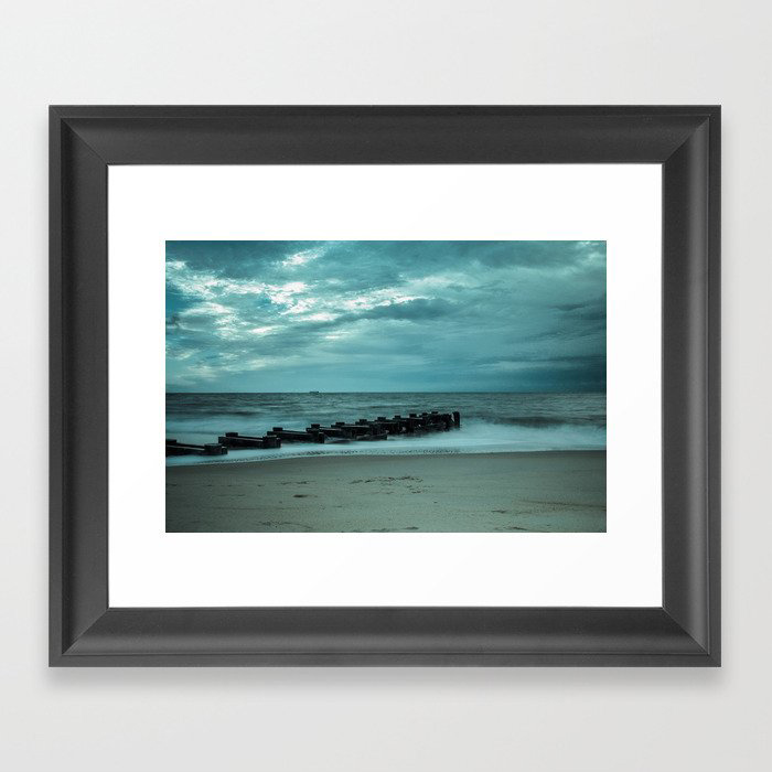 Coastal Landscape Photograph Blue Morning at Rehoboth - Beach Art Framed Art Print by PIPA Wall Art & Home Decor