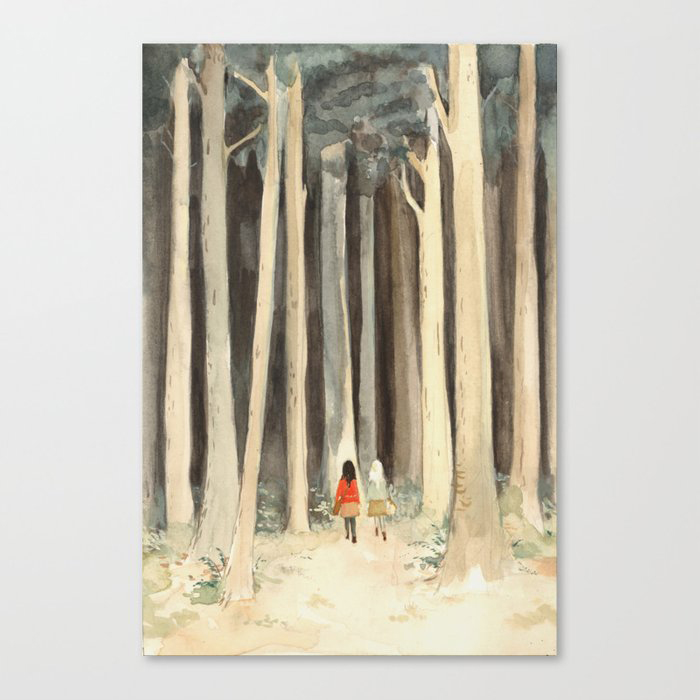 Snow & Rose in the Forest Canvas Print by Emily Winfield Martin