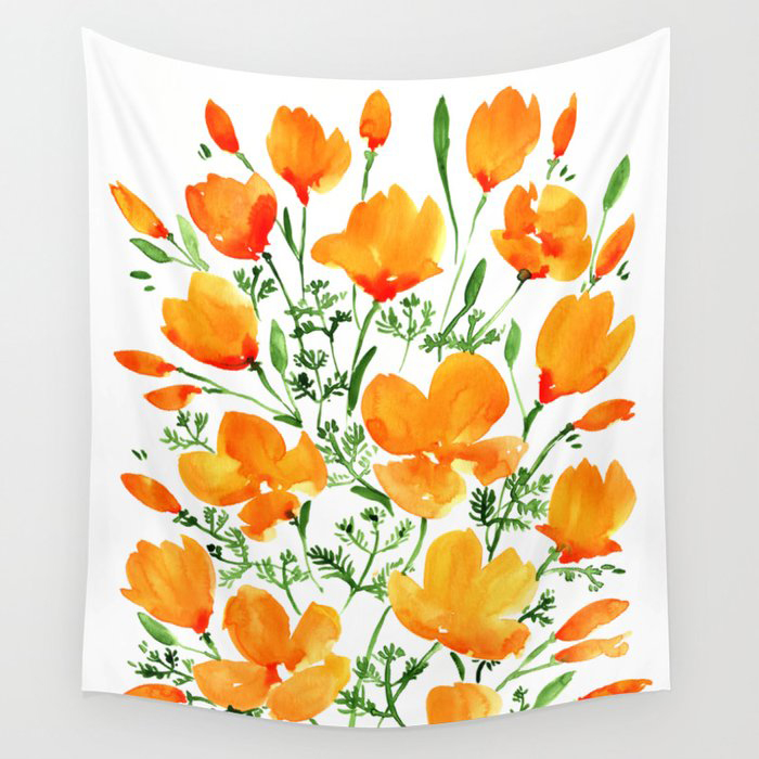 Watercolor California poppies Wall Tapestry by blursbyaiShop