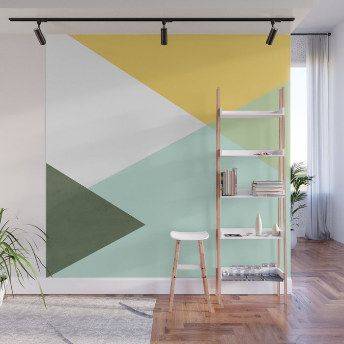 Geometric - citrus & concrete Wall Mural by Gale Switzer
