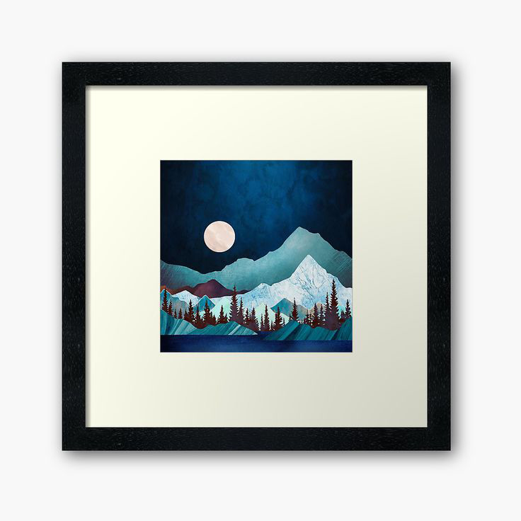 Moon Bay Framed Art Print Designed by spacefrogdesign