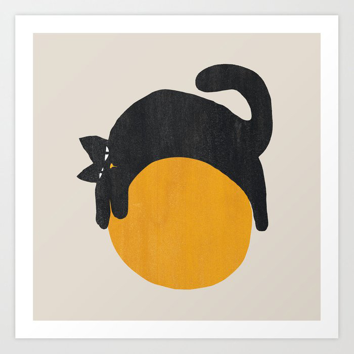 Cat with ball Art Print by Picomodi