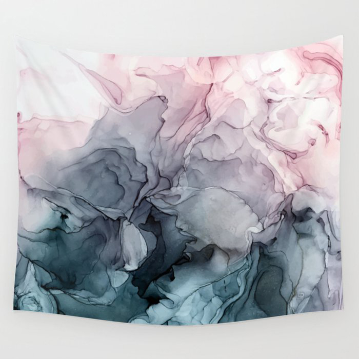 Blush and Payne's Grey Flowing Abstract Painting Wall Tapestry by Elizabeth Karlson