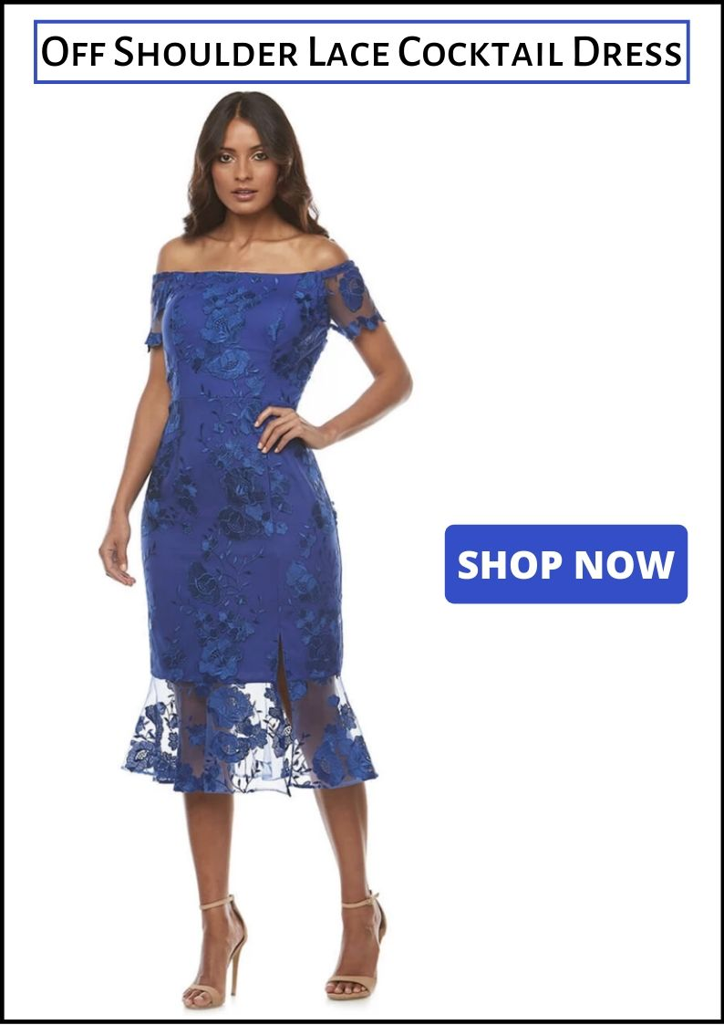 Zaliea - Off Shoulder Lace Cocktail Dress - Blue - Pizazz Boutique - Melbourne Cup Fashion