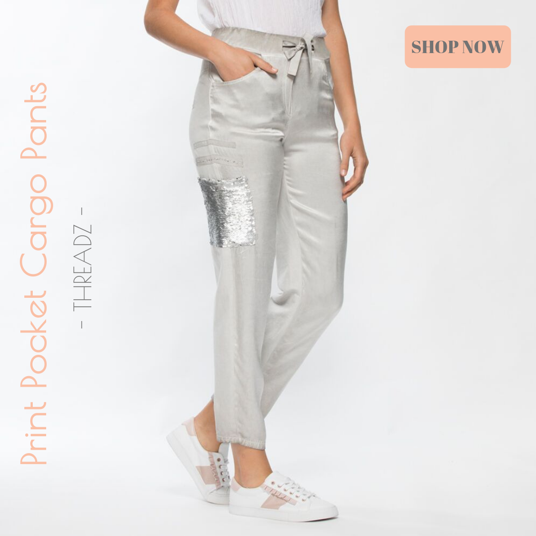 Threadz - Print Pocket Cargo Pants - Silver Grey - Pizazz Boutique