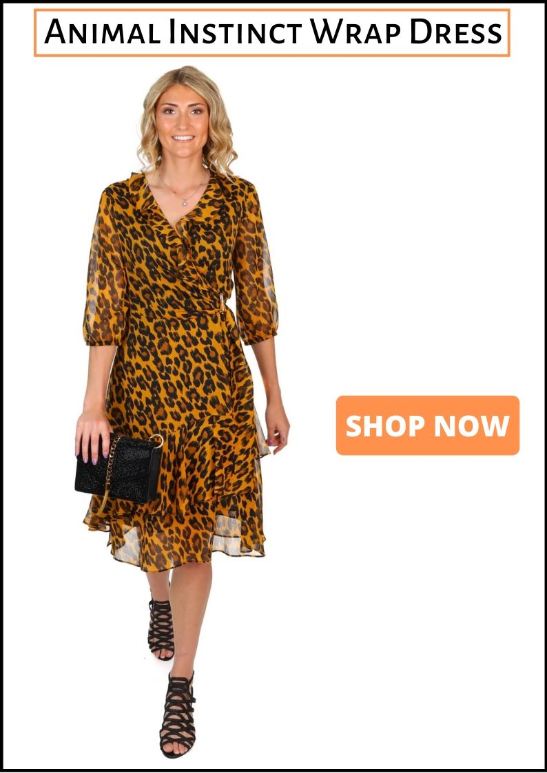 Joseph Ribkoff - Leopard Print Wrap Dress - Pizazz Boutique