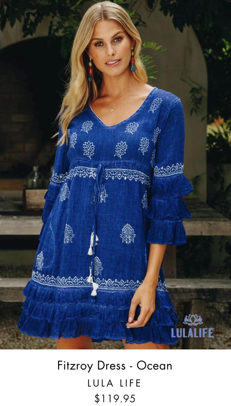 Lula Life - Fitzroy Dress - Ocean - Cotton - Pizazz Boutique