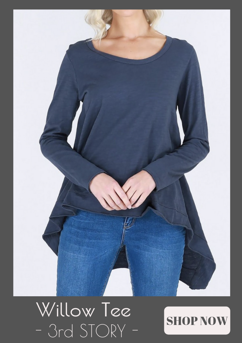 3rd Story - Willow Long Sleeve Tee - Indigo - Pizazz Boutique