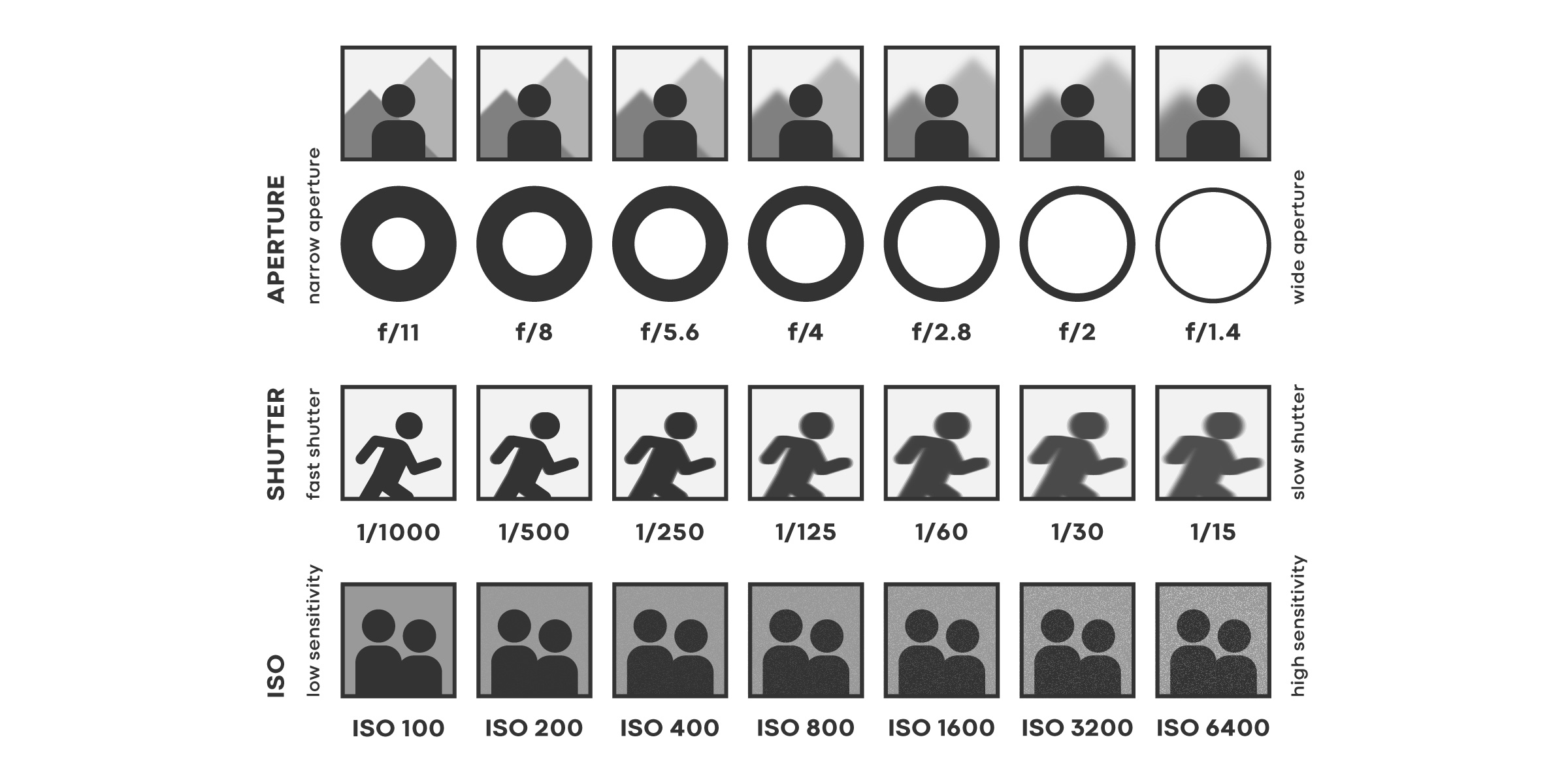Relationship between ISO, Shutter Speed, and Aperture